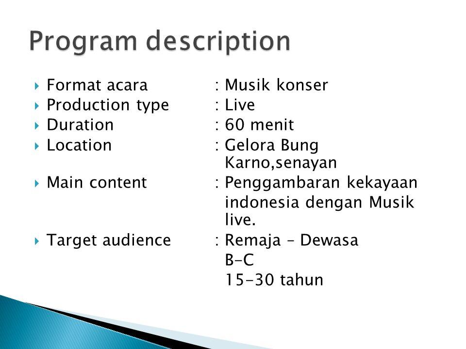  Format acara: Musik konser  Production type: Live  Duration: 60 menit  Location: Gelora Bung Karno,senayan  Main content: Penggambaran kekayaan