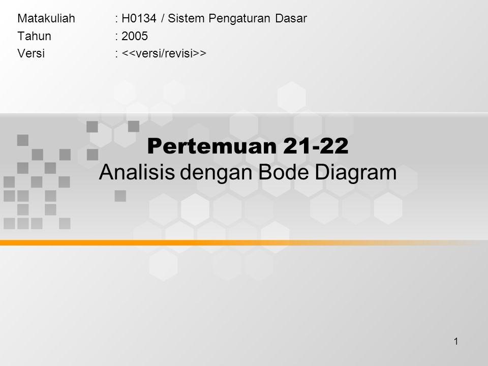 2 Learning Outcomes Pada akhir pertemuan ini, diharapkan mahasiswa akan mampu : menjelaskan analisis sistem pengaturan dalam domain frekuensi dengan Bode Plot