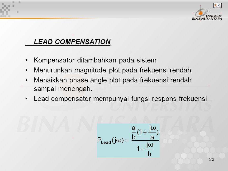 23 LEAD COMPENSATION Kompensator ditambahkan pada sistem Menurunkan magnitude plot pada frekuensi rendah Menaikkan phase angle plot pada frekuensi ren