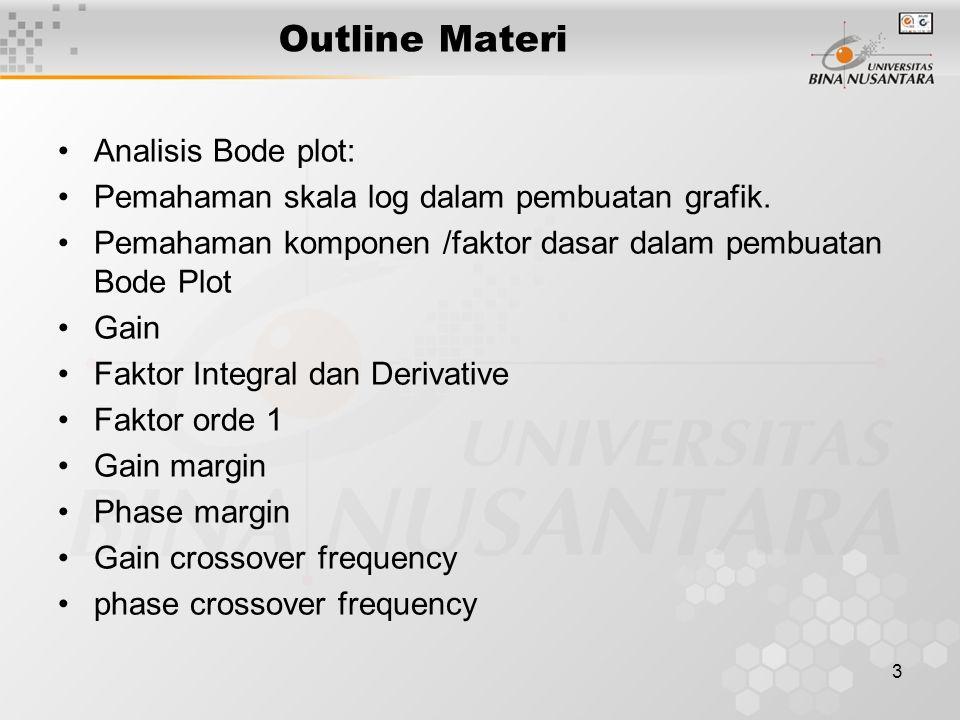 3 Outline Materi Analisis Bode plot: Pemahaman skala log dalam pembuatan grafik. Pemahaman komponen /faktor dasar dalam pembuatan Bode Plot Gain Fakto