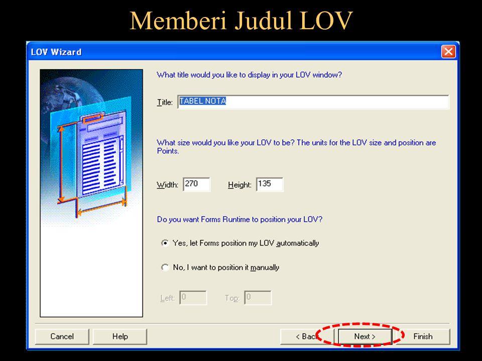 Memberi Judul LOV