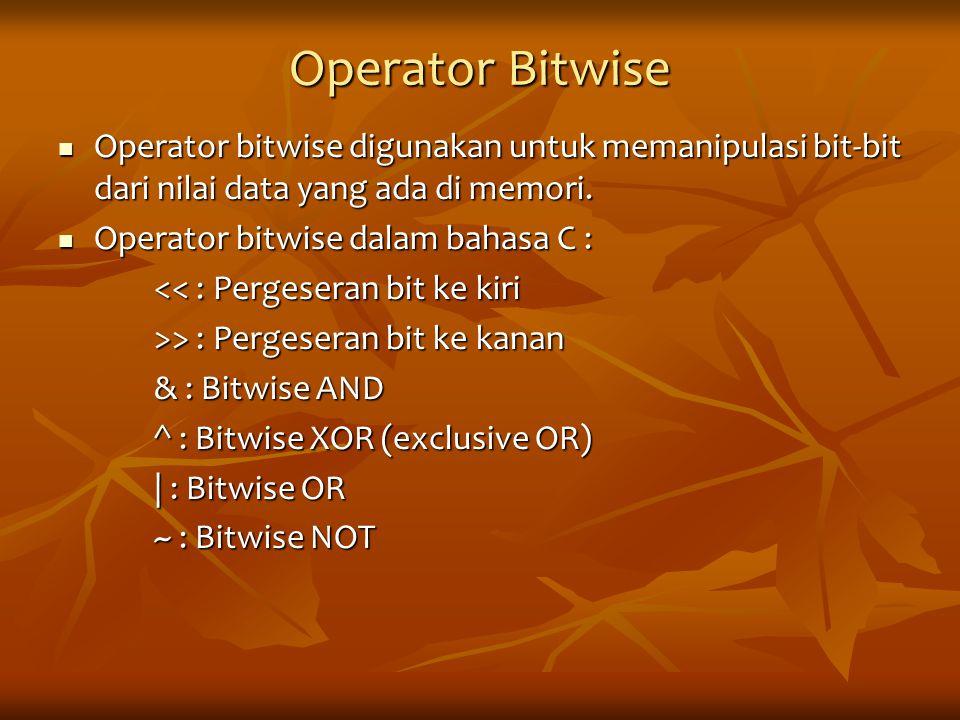 Operator Bitwise Operator bitwise digunakan untuk memanipulasi bit-bit dari nilai data yang ada di memori. Operator bitwise digunakan untuk memanipula