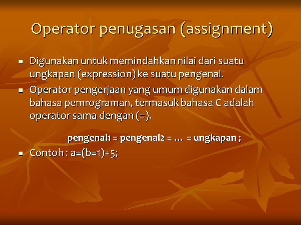Operator penugasan (assignment) Digunakan untuk memindahkan nilai dari suatu ungkapan (expression) ke suatu pengenal. Digunakan untuk memindahkan nila