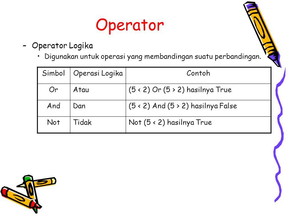 Operator –Operator Logika Digunakan untuk operasi yang membandingan suatu perbandingan. SimbolOperasi LogikaContoh OrAtau(5 2) hasilnya True AndDan(5
