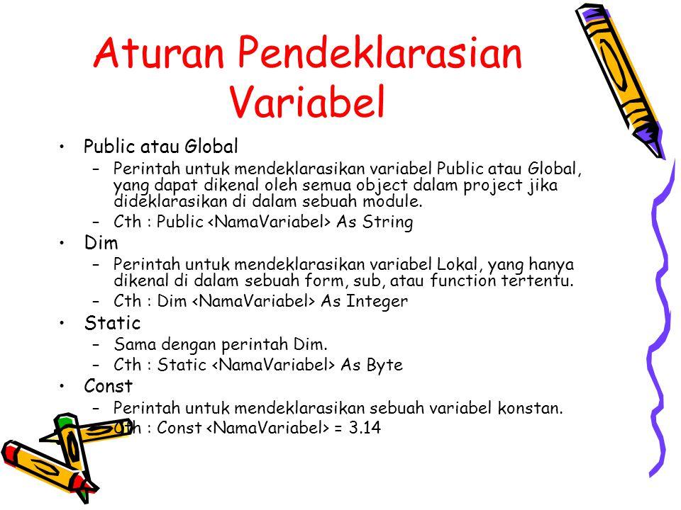 Aturan Pendeklarasian Variabel Public atau Global –Perintah untuk mendeklarasikan variabel Public atau Global, yang dapat dikenal oleh semua object dalam project jika dideklarasikan di dalam sebuah module.