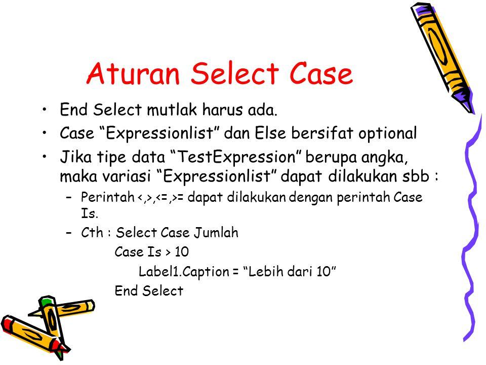"""Aturan Select Case End Select mutlak harus ada. Case """"Expressionlist"""" dan Else bersifat optional Jika tipe data """"TestExpression"""" berupa angka, maka va"""