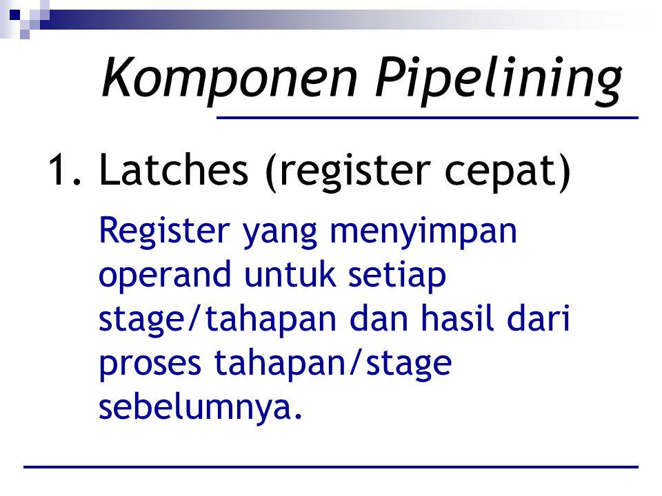 Komponen Pipelining 1. Latches (register cepat) Register yang menyimpan operand untuk setiap stage/tahapan dan hasil dari proses tahapan/stage sebelum