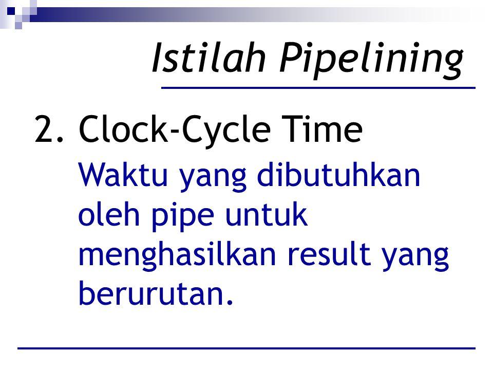 Istilah Pipelining 2. Clock-Cycle Time Waktu yang dibutuhkan oleh pipe untuk menghasilkan result yang berurutan.