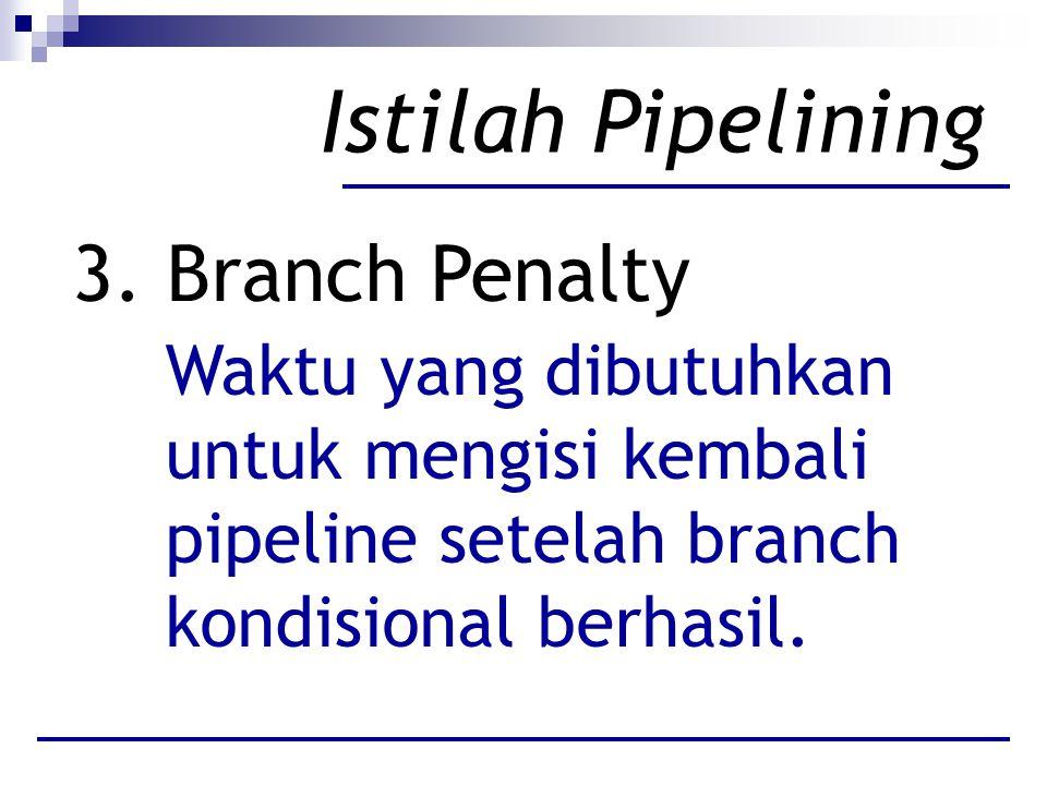 Istilah Pipelining 3. Branch Penalty Waktu yang dibutuhkan untuk mengisi kembali pipeline setelah branch kondisional berhasil.