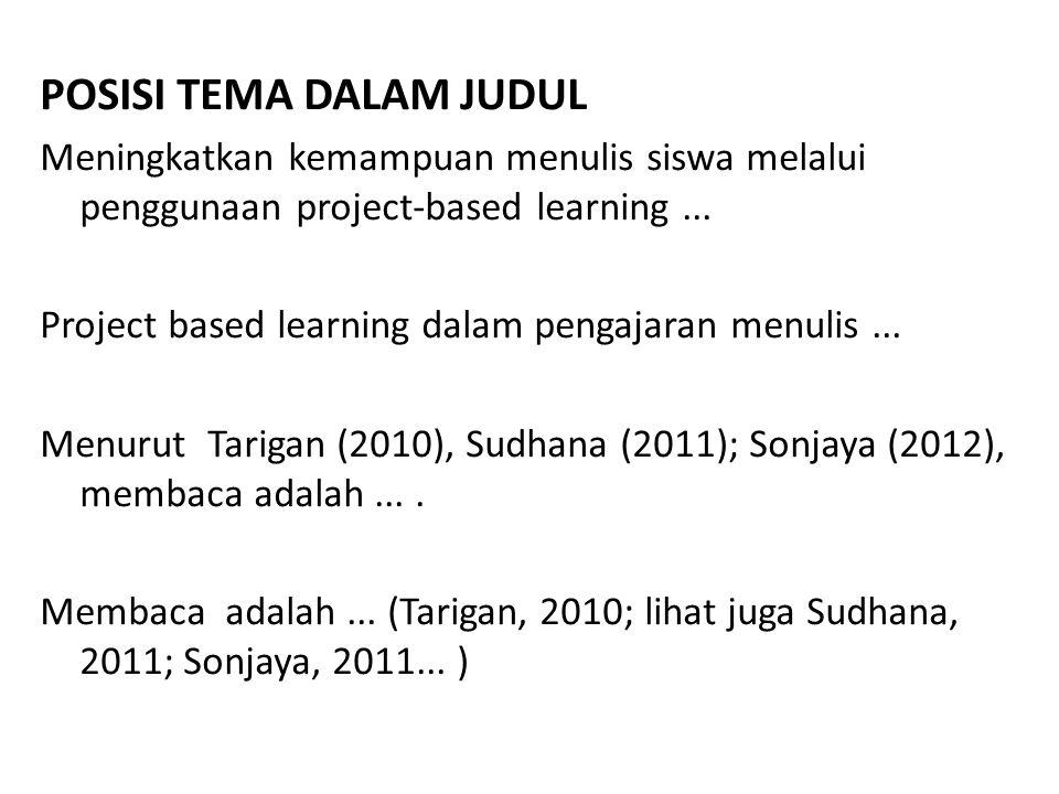POSISI TEMA DALAM JUDUL Meningkatkan kemampuan menulis siswa melalui penggunaan project-based learning... Project based learning dalam pengajaran menu