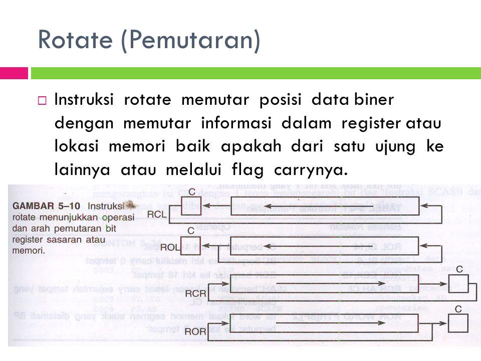 Rotate (Pemutaran)  Instruksi rotate memutar posisi data biner dengan memutar informasi dalam register atau lokasi memori baik apakah dari satu ujung