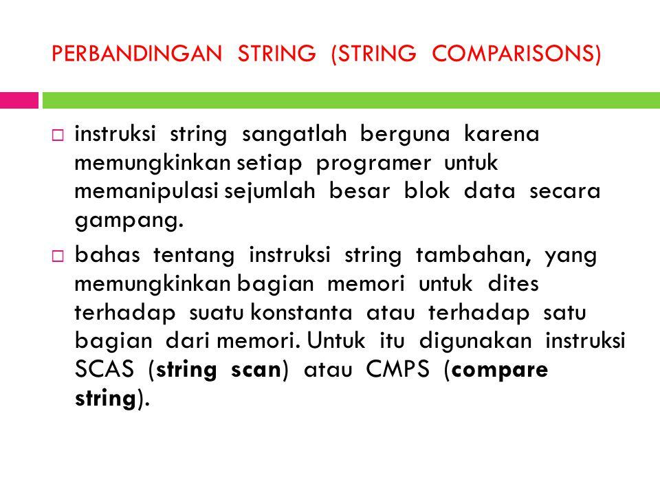 PERBANDINGAN STRING (STRING COMPARISONS)  instruksi string sangatlah berguna karena memungkinkan setiap programer untuk memanipulasi sejumlah besar b