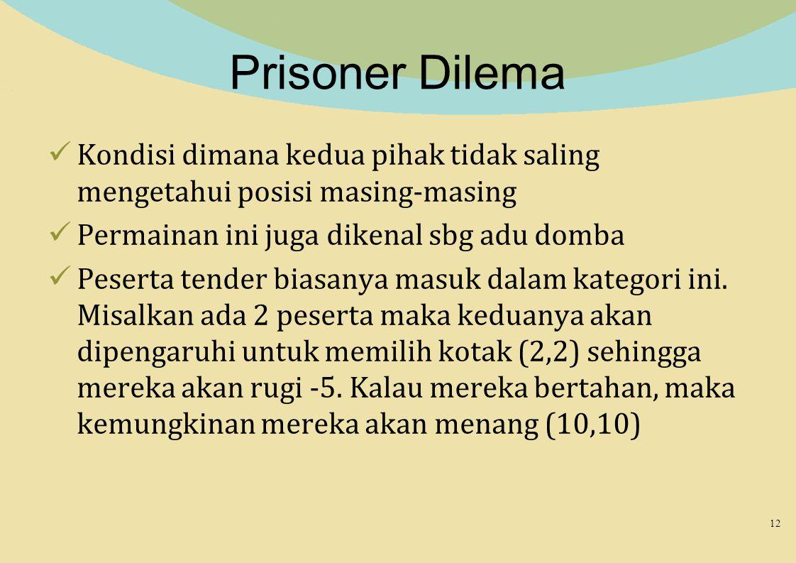 Prisoner Dilema Kondisi dimana kedua pihak tidak saling mengetahui posisi masing-masing Permainan ini juga dikenal sbg adu domba Peserta tender biasan
