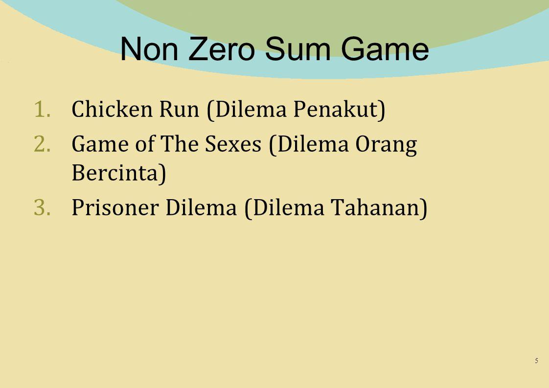 Non Zero Sum Game 1.Chicken Run (Dilema Penakut) 2.Game of The Sexes (Dilema Orang Bercinta) 3.Prisoner Dilema (Dilema Tahanan) 5