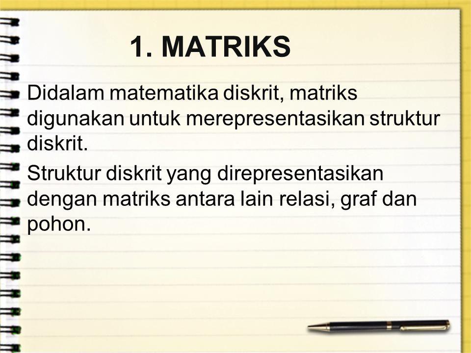 1. MATRIKS Didalam matematika diskrit, matriks digunakan untuk merepresentasikan struktur diskrit. Struktur diskrit yang direpresentasikan dengan matr