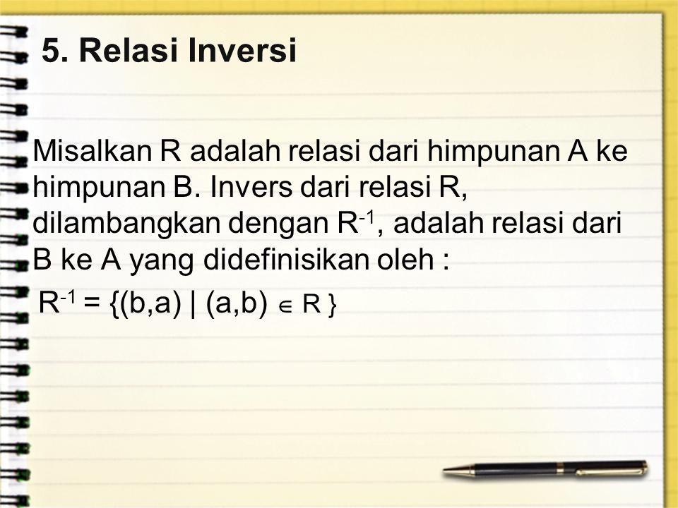 5. Relasi Inversi Misalkan R adalah relasi dari himpunan A ke himpunan B. Invers dari relasi R, dilambangkan dengan R -1, adalah relasi dari B ke A ya