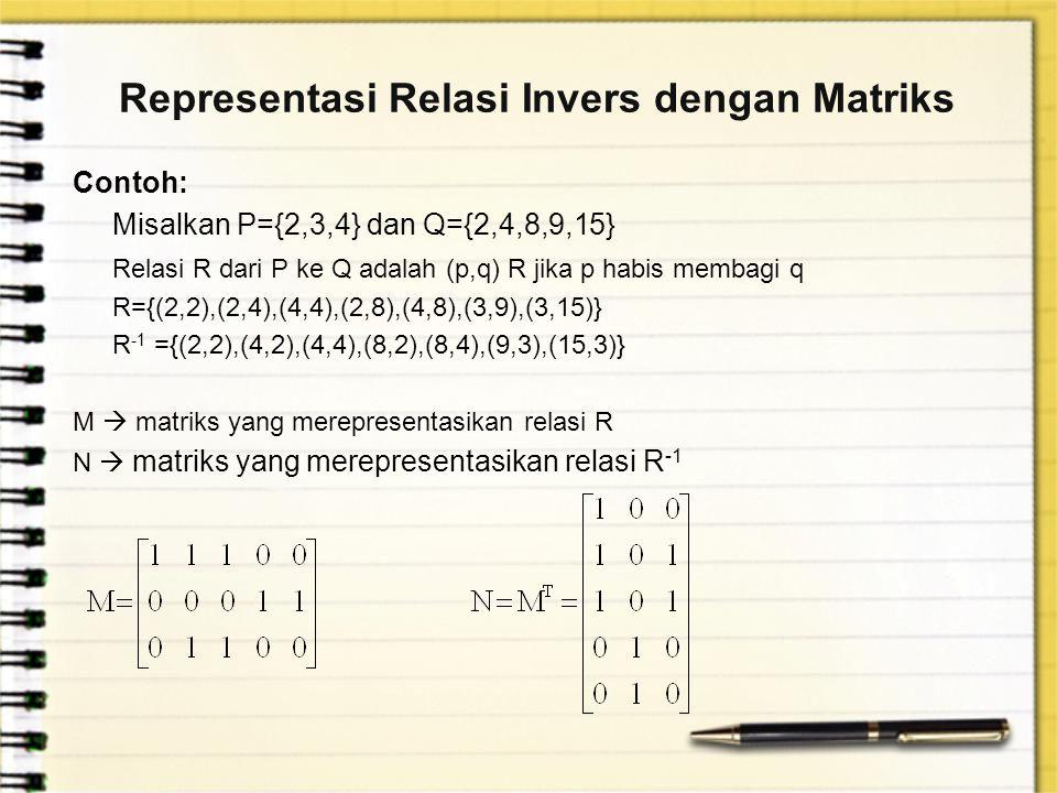 Representasi Relasi Invers dengan Matriks Contoh: Misalkan P={2,3,4} dan Q={2,4,8,9,15} Relasi R dari P ke Q adalah (p,q) R jika p habis membagi q R={