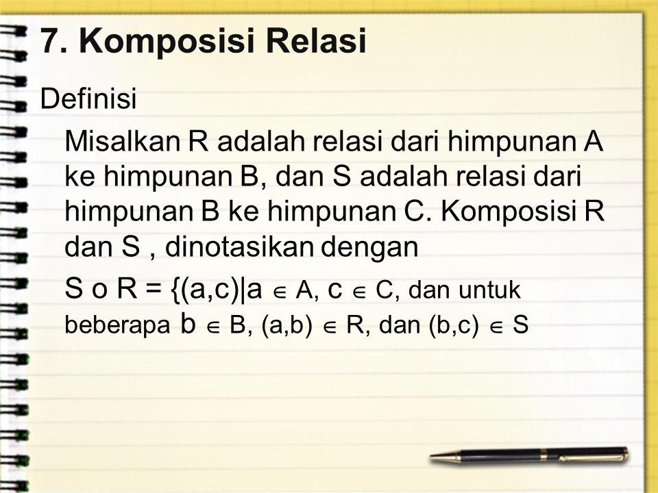 7. Komposisi Relasi Definisi Misalkan R adalah relasi dari himpunan A ke himpunan B, dan S adalah relasi dari himpunan B ke himpunan C. Komposisi R da