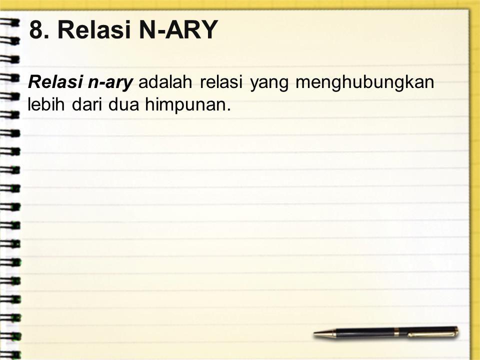 8. Relasi N-ARY Relasi n-ary adalah relasi yang menghubungkan lebih dari dua himpunan.