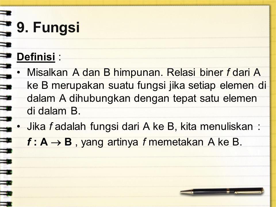 9. Fungsi Definisi : Misalkan A dan B himpunan. Relasi biner f dari A ke B merupakan suatu fungsi jika setiap elemen di dalam A dihubungkan dengan tep