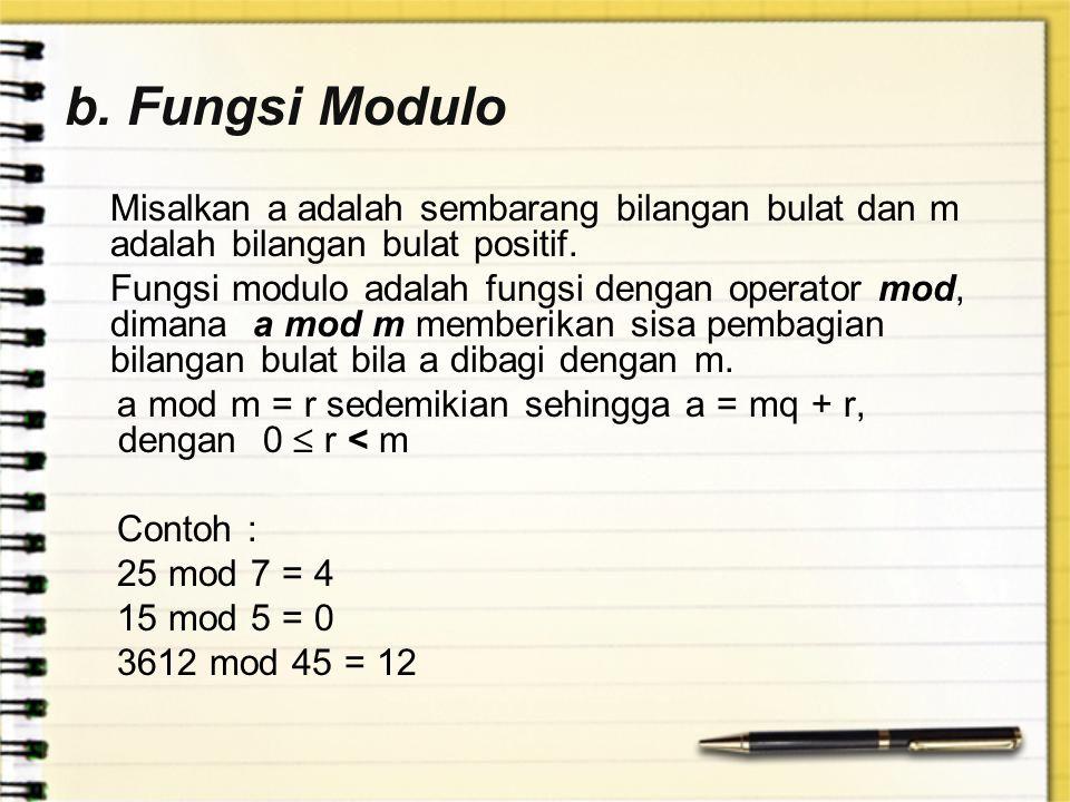 b. Fungsi Modulo Misalkan a adalah sembarang bilangan bulat dan m adalah bilangan bulat positif. Fungsi modulo adalah fungsi dengan operator mod, dima
