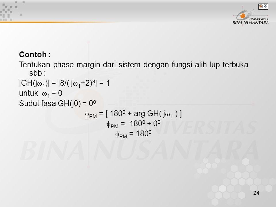 24 Contoh : Tentukan phase margin dari sistem dengan fungsi alih lup terbuka sbb :  GH(j  1 )  =  8/( j  1 +2) 3   = 1 untuk  1 = 0 Sudut fasa GH(j0) = 0 0  PM = [ 180 0 + arg GH( j  1 ) ]  PM = 180 0 + 0 0  PM = 180 0