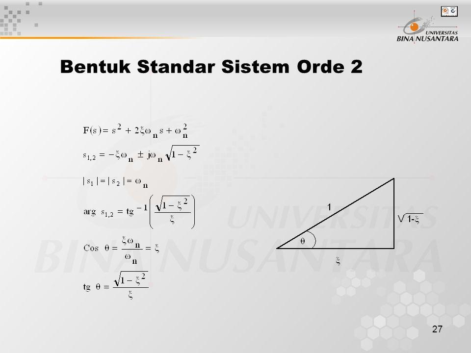 27 Bentuk Standar Sistem Orde 2