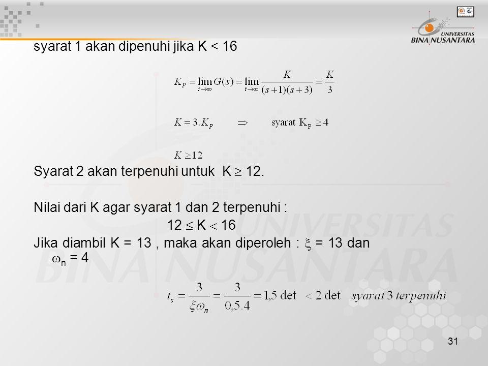 31 syarat 1 akan dipenuhi jika K < 16 Syarat 2 akan terpenuhi untuk K  12. Nilai dari K agar syarat 1 dan 2 terpenuhi : 12  K  16 Jika diambil K =