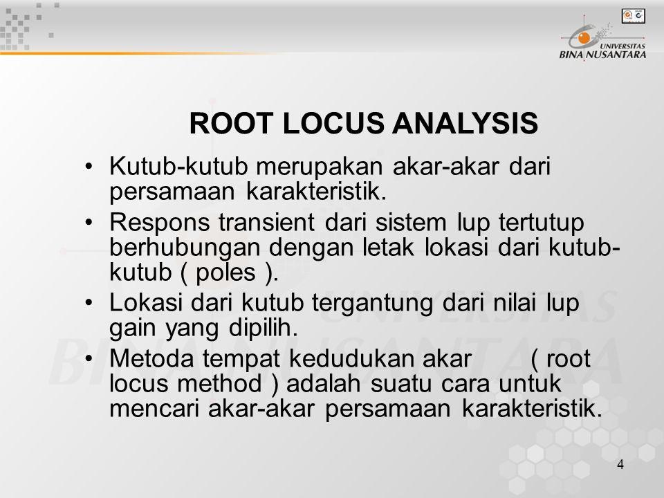 4 ROOT LOCUS ANALYSIS Kutub-kutub merupakan akar-akar dari persamaan karakteristik. Respons transient dari sistem lup tertutup berhubungan dengan leta