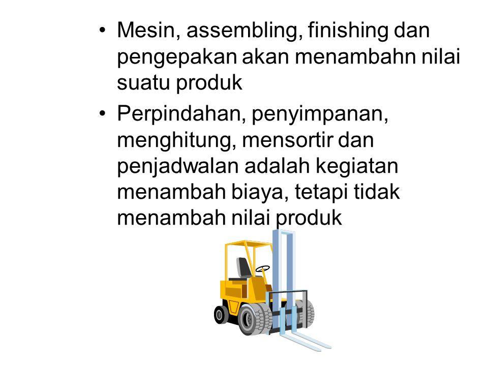 Mesin, assembling, finishing dan pengepakan akan menambahn nilai suatu produk Perpindahan, penyimpanan, menghitung, mensortir dan penjadwalan adalah k