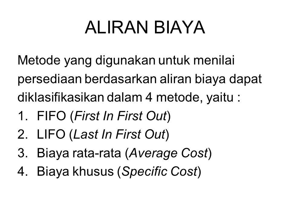 ALIRAN BIAYA Metode yang digunakan untuk menilai persediaan berdasarkan aliran biaya dapat diklasifikasikan dalam 4 metode, yaitu : 1.FIFO (First In F