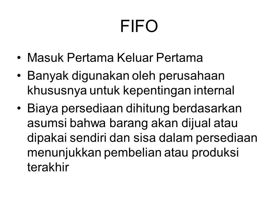FIFO Masuk Pertama Keluar Pertama Banyak digunakan oleh perusahaan khususnya untuk kepentingan internal Biaya persediaan dihitung berdasarkan asumsi b