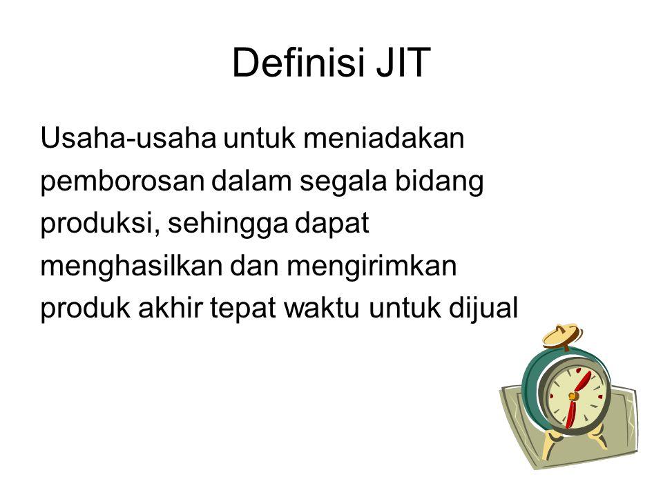 Definisi JIT Usaha-usaha untuk meniadakan pemborosan dalam segala bidang produksi, sehingga dapat menghasilkan dan mengirimkan produk akhir tepat wakt