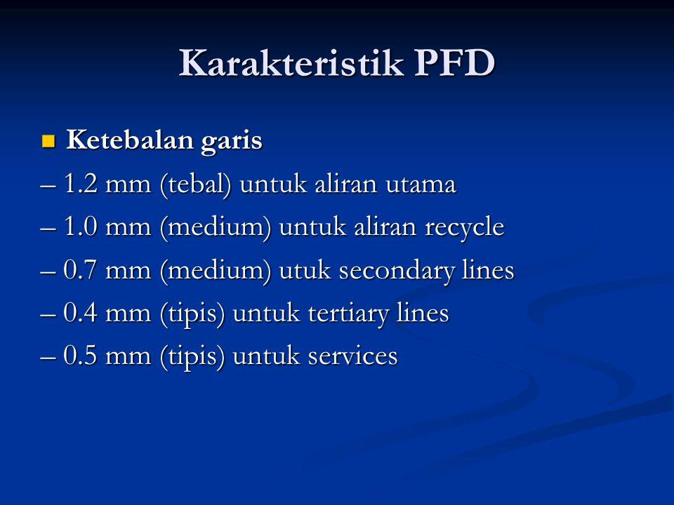 Karakteristik PFD Ketebalan garis Ketebalan garis – 1.2 mm (tebal) untuk aliran utama – 1.0 mm (medium) untuk aliran recycle – 0.7 mm (medium) utuk secondary lines – 0.4 mm (tipis) untuk tertiary lines – 0.5 mm (tipis) untuk services