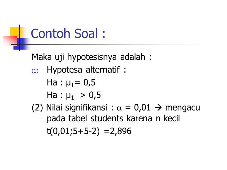 Contoh Soal : Maka uji hypotesisnya adalah : (1) Hypotesa alternatif : Ha : µ 1 = 0,5 Ha : µ 1 > 0,5 (2) Nilai signifikansi :  = 0,01  mengacu pada