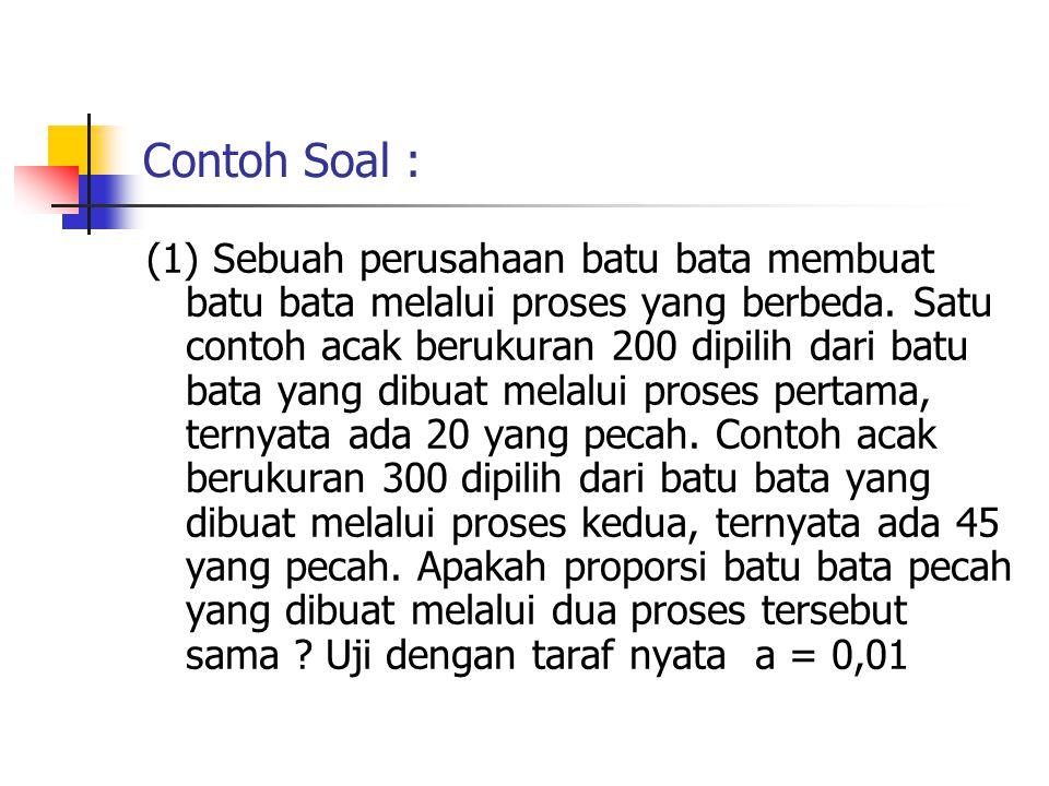 Contoh Soal : (1) Sebuah perusahaan batu bata membuat batu bata melalui proses yang berbeda. Satu contoh acak berukuran 200 dipilih dari batu bata yan