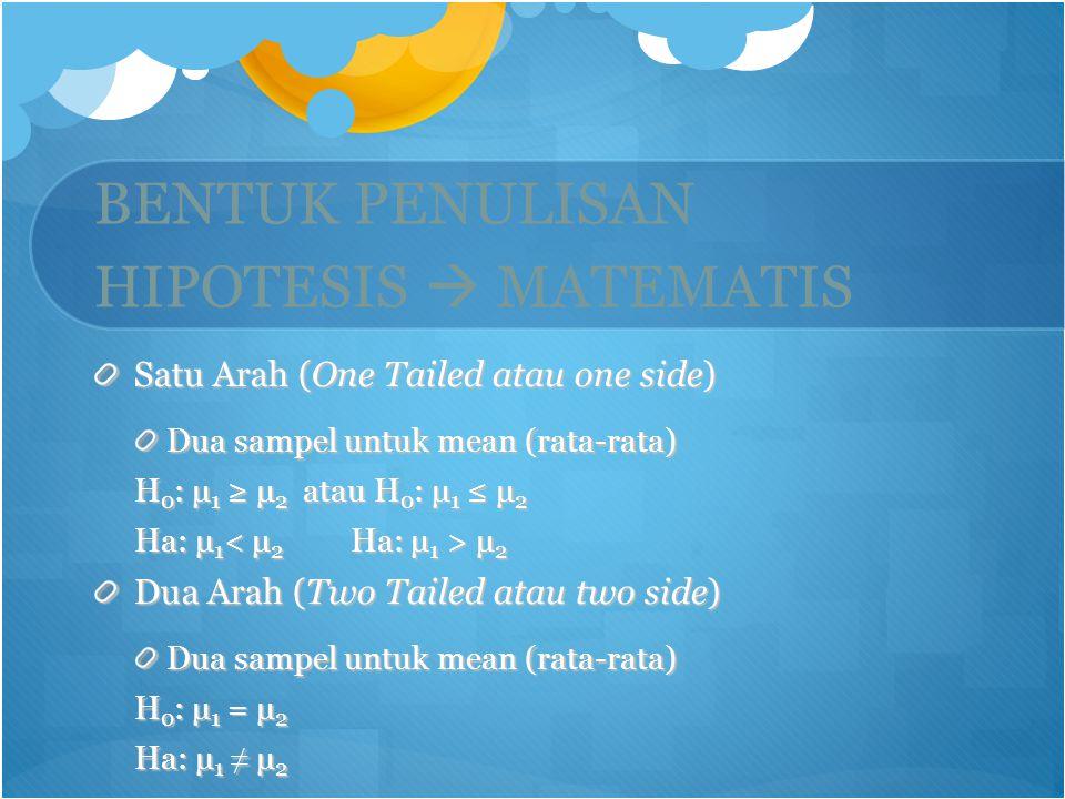 BENTUK PENULISAN HIPOTESIS  MATEMATIS Satu Arah (One Tailed atau one side) Dua sampel untuk mean (rata-rata) H 0 : μ 1 ≥ μ 2 atau H 0 : μ 1 ≤ μ 2 Ha: μ 1 μ 2 Dua Arah (Two Tailed atau two side) Dua sampel untuk mean (rata-rata) H 0 : μ 1 = μ 2 Ha: μ 1 ≠ μ 2