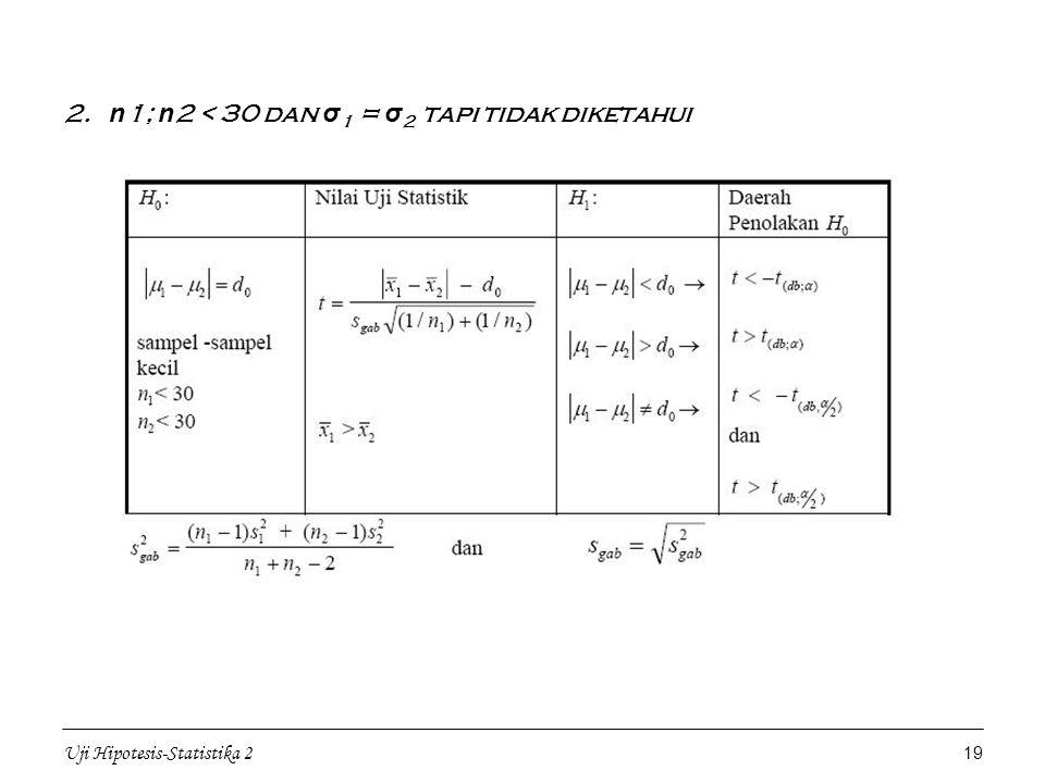 Uji Hipotesis-Statistika 2 19 2. n 1; n 2 < 30 dan σ 1 = σ 2 tapi tidak diketahui
