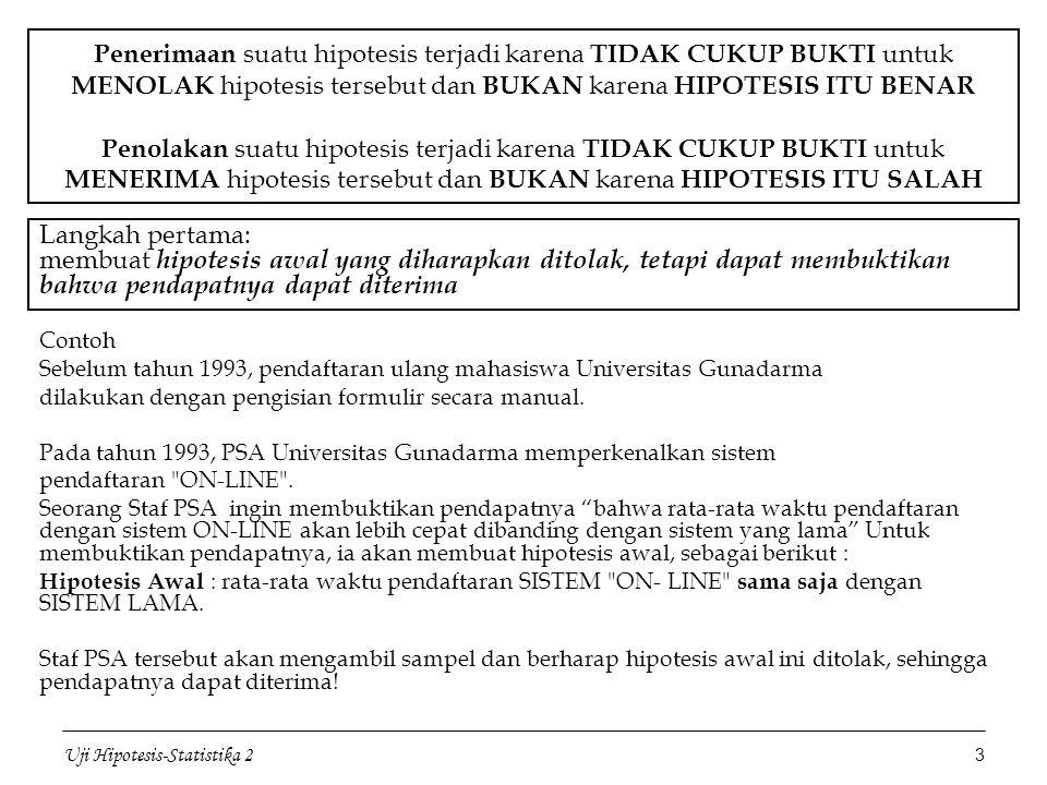 Uji Hipotesis-Statistika 2 3 Penerimaan suatu hipotesis terjadi karena TIDAK CUKUP BUKTI untuk MENOLAK hipotesis tersebut dan BUKAN karena HIPOTESIS I