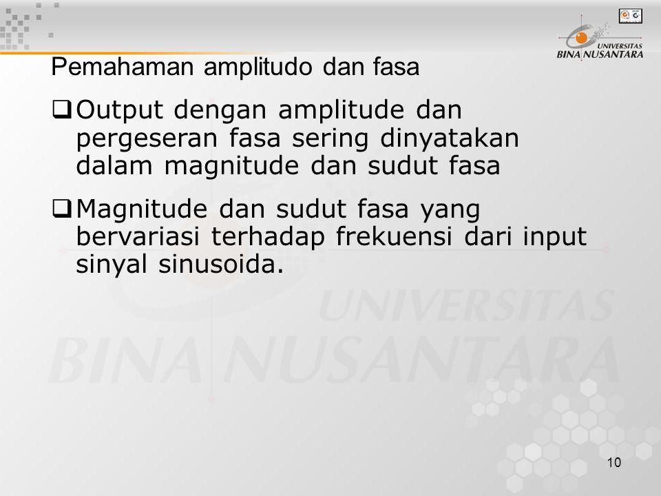 10 Pemahaman amplitudo dan fasa  Output dengan amplitude dan pergeseran fasa sering dinyatakan dalam magnitude dan sudut fasa  Magnitude dan sudut fasa yang bervariasi terhadap frekuensi dari input sinyal sinusoida.