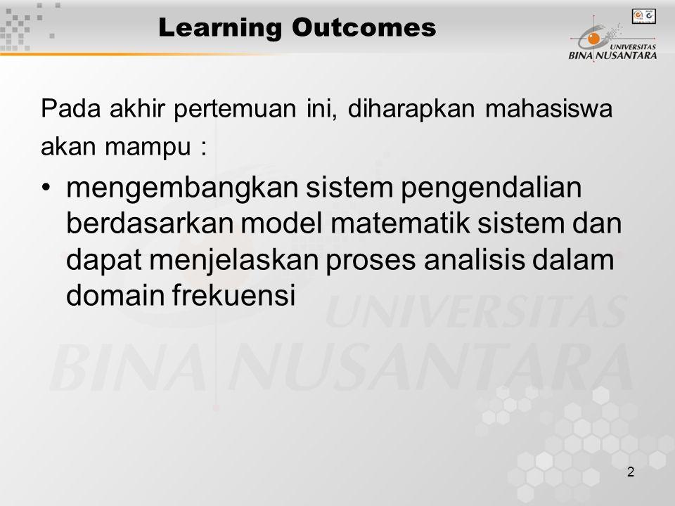 2 Learning Outcomes Pada akhir pertemuan ini, diharapkan mahasiswa akan mampu : mengembangkan sistem pengendalian berdasarkan model matematik sistem dan dapat menjelaskan proses analisis dalam domain frekuensi