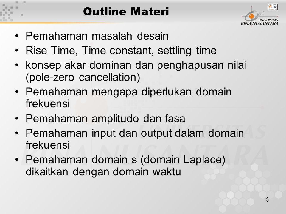 3 Outline Materi Pemahaman masalah desain Rise Time, Time constant, settling time konsep akar dominan dan penghapusan nilai (pole-zero cancellation) Pemahaman mengapa diperlukan domain frekuensi Pemahaman amplitudo dan fasa Pemahaman input dan output dalam domain frekuensi Pemahaman domain s (domain Laplace) dikaitkan dengan domain waktu