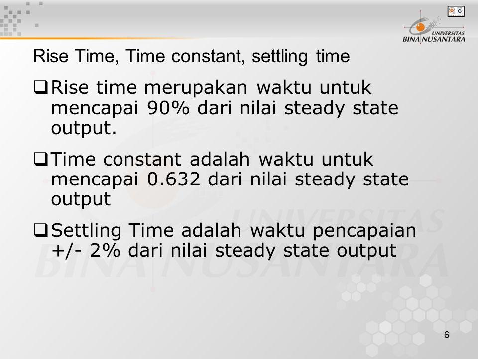 6 Rise Time, Time constant, settling time  Rise time merupakan waktu untuk mencapai 90% dari nilai steady state output.