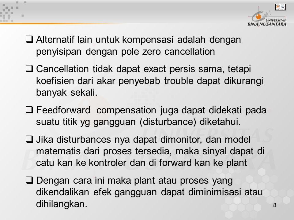 8  Alternatif lain untuk kompensasi adalah dengan penyisipan dengan pole zero cancellation  Cancellation tidak dapat exact persis sama, tetapi koefisien dari akar penyebab trouble dapat dikurangi banyak sekali.