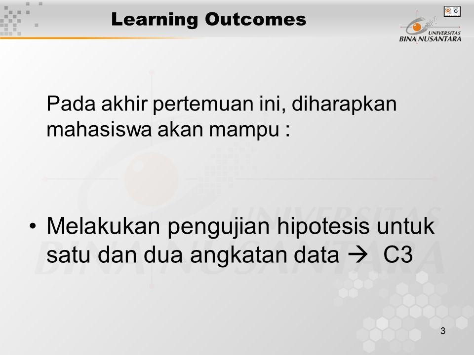 3 Learning Outcomes Pada akhir pertemuan ini, diharapkan mahasiswa akan mampu : Melakukan pengujian hipotesis untuk satu dan dua angkatan data  C3