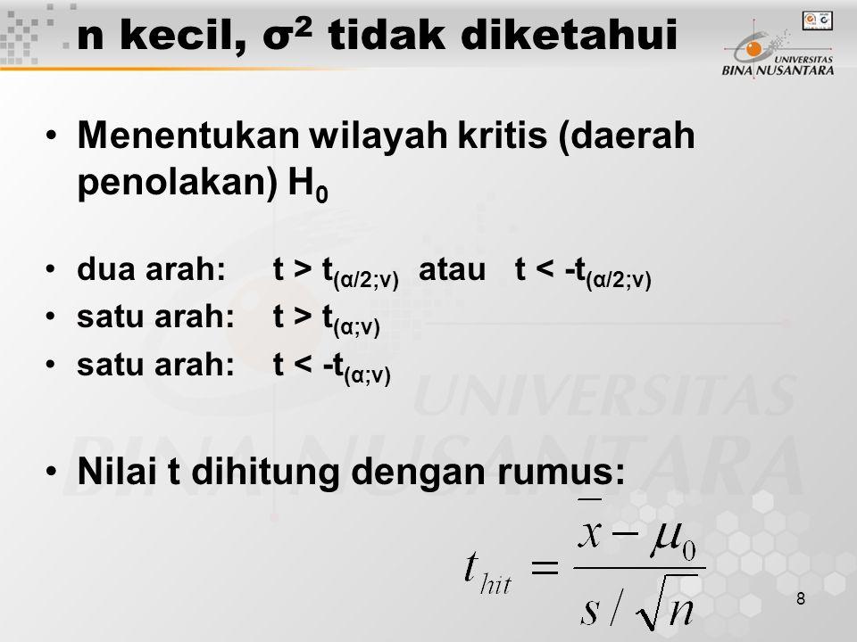 8 n kecil, σ 2 tidak diketahui Menentukan wilayah kritis (daerah penolakan) H 0 dua arah: t > t (α/2;v) atau t < -t (α/2;v) satu arah: t > t (α;v) sat