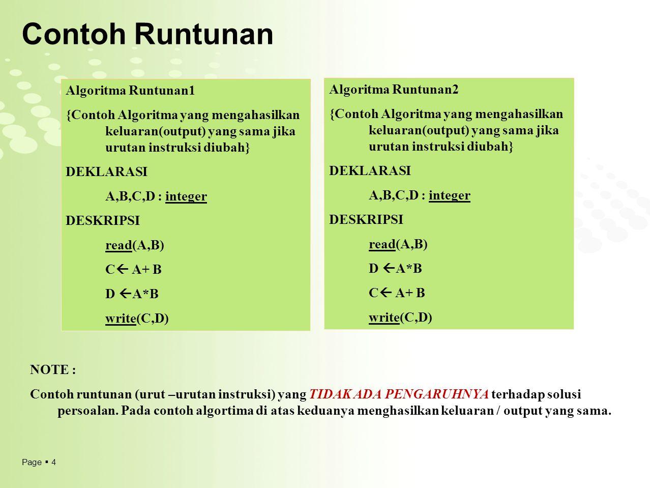 Page  4 Contoh Runtunan Algoritma Runtunan1 {Contoh Algoritma yang mengahasilkan keluaran(output) yang sama jika urutan instruksi diubah} DEKLARASI A