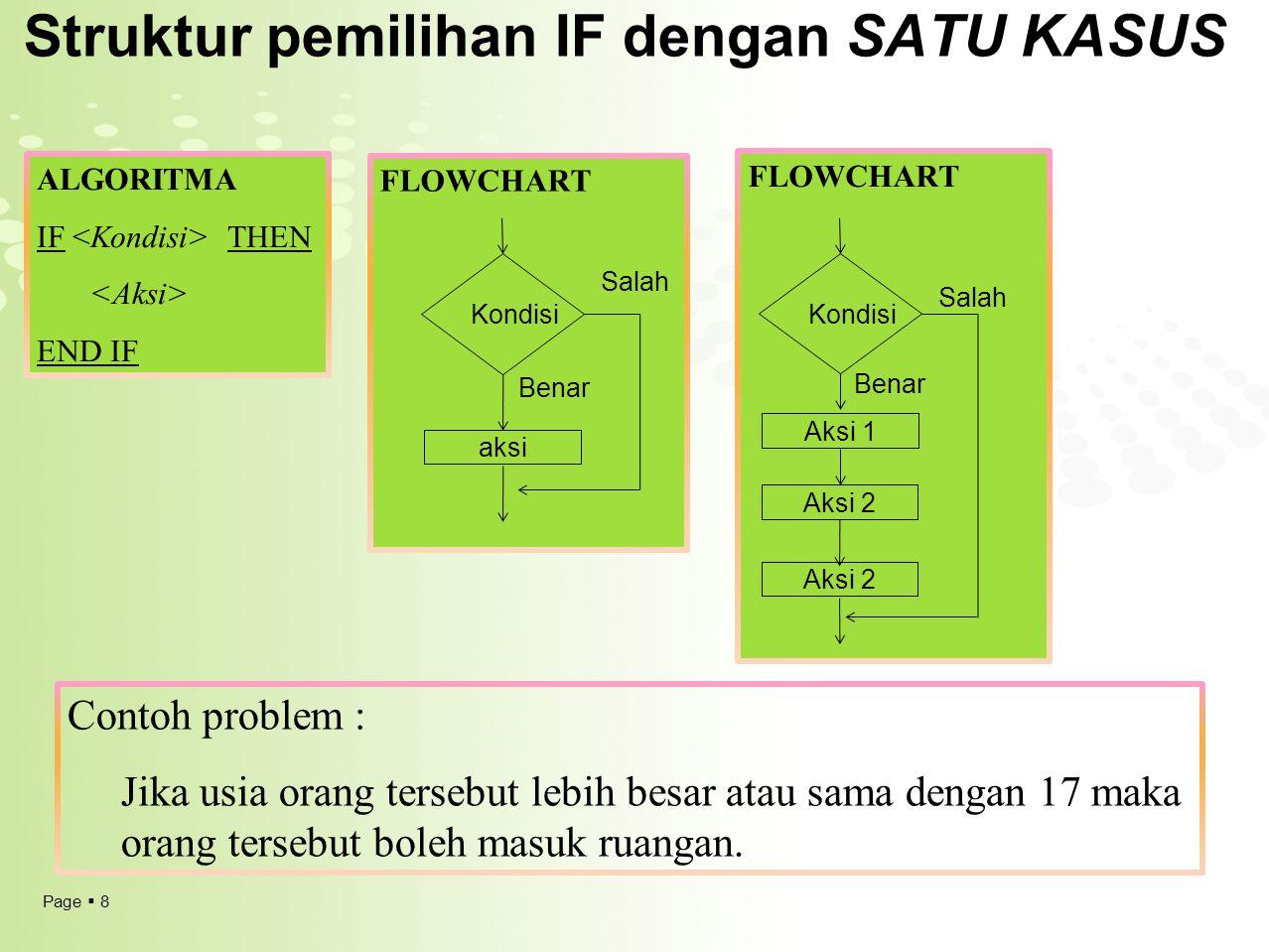 Page  8 Struktur pemilihan IF dengan SATU KASUS ALGORITMA IF THEN END IF Contoh problem : Jika usia orang tersebut lebih besar atau sama dengan 17 ma