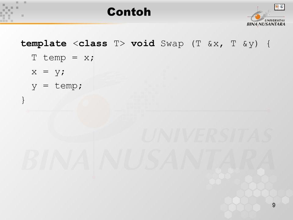9 Contoh template void Swap (T &x, T &y) { T temp = x; x = y; y = temp; }
