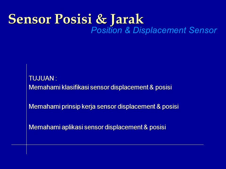 Sensor Posisi & Jarak Position & Displacement Sensor TUJUAN : Memahami klasifikasi sensor displacement & posisi Memahami prinsip kerja sensor displace
